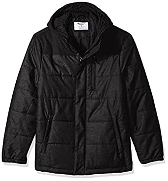 Champion 男式 Tech Herringbone 绗缝连帽羽绒服 杂灰色(Granite Heather) Medium