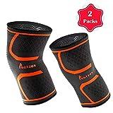 膝盖压力袜(1 双),*佳压缩针织护膝,凝胶条,适合跑步、运动、慢跑、篮球、男士和女士受伤康复,橙色