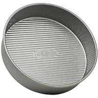 USA Pan Bakeware 铝化钢圆形蛋糕盘 银色 9-Inch Round 1070LC