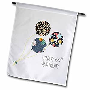 InspirationzStore Occasions - Happy 60th Birthday - Modern stylish floral Balloons. Elegant black brown blue 60 year old Bday - Flags 12 x 18 inch Garden Flag
