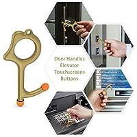 HSJL 手动开门器 - 免触式钥匙门闭合器,便携式手持开口环挂钩钥匙扣,保持双手清洁 金色 小号
