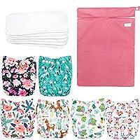 Wegreeco 可水洗可重复使用婴儿布口袋尿布 6 件装 + 6 个衬垫 + 1 个湿袋 Flower + 1 Wet Bag 均码