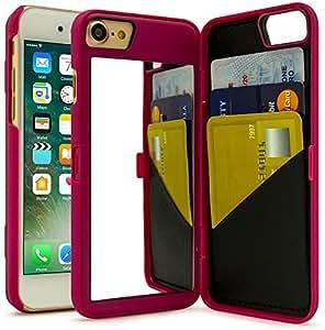iPhone 7 手机壳,Bastex 隐藏式后镜钱包式手机壳带支架特性和卡夹,适用于苹果 iPhone 7F: F18B iP7 HPNK Mirror Case ALE 桃红色