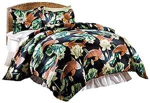 Paragon 羽绒被套套装 - 柔软被罩,易护理超细纤维双面印花图案,纽扣封口搭配标准枕套 - 锦鲤池塘 Black, Orange, Green King