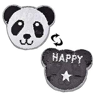 TUANTUAN 熊猫企鹅气球双面变色亮片贴缝贴花适合 DIY T 恤大衣毛衣牛仔裤服装工艺品 熊猫
