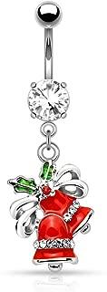 14G 宝石 镶嵌 铃状 悬垂 脐环 (单独出售)