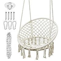 ABDQPC 吊床椅 Macrame 摇摆,悬挂躺椅,耐用棉绳摇摆,适用于卧室、庭院、花园、甲板、码、*大承重 265 磅