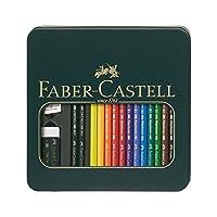 Faber-Castell 辉柏嘉 110012 – Polychromos 系列艺术家彩色铅笔,12色,金属盒 Metalletui Polychromos + Castell 9000 多种颜色