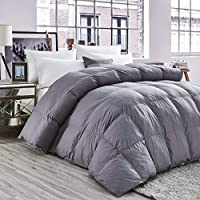 奢华四季鹅绒被被子羽绒被芯,经典灰色,优质挡板箱,1200 支 埃及棉被套,750+ 蓬松度 灰色 Queen