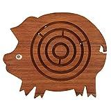 Benzara 猪形状迷宫球迷宫拼图游戏,棕色