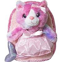 Kreative 儿童可爱彩色猫美人鱼毛绒背包,带闪亮*和可拆卸填充动物