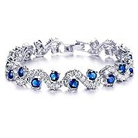 Yellow Chimes Rich Royal Blue Crystal High Grade Cz Bracelet For Women