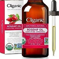 Cliganic USDA Organic Rosehip 面部籽油,* 純 | 自然冷壓未精煉非轉*| 皮膚、*和*的載油
