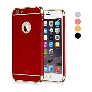 iPhone 6S 手机壳, vansin 3合1超薄与修身硬质保护套防滑哑光带电镀框架适用于 Apple iphone 6(25.4CM ) ( 2014) and iphone 6s (25.4CM ) ( 2015)–- Red & Gold