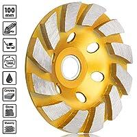 Sunjoyco 10.16 cm 钻石杯磨光轮,12 种重型涡轮式混凝土磨砂轮盘,适用于角磨机,适用于花岗岩、石、大理石、砖石、混凝土 金色 H950220-S001436504