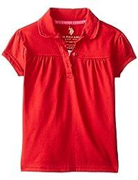 U.S. Polo Association School Uniform Big Girls' Short Sleeve Jersey with Ruffle