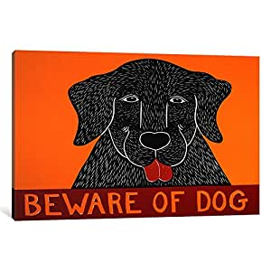 "iCanvasART 1 Piece Beware of Dog Black Canvas Print by Stephen Huneck, 12"" x 8""/0.75"" Depth"