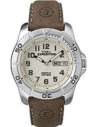 TIMEX 天美时 美国品牌 户外三针系列 石英手表 男士腕表 T46681 (拉丝表壳 简易三针 真皮表带 )