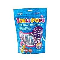 Zollipops 持久性清洁牙齿污染物,抗蛀牙棒棒糖,各种美味口味,75支