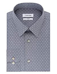 Calvin Klein 男式正装衬衫免烫标准剪裁弹力印花