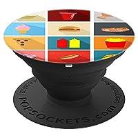 Fast Food Pizza Fries Hot Dog 汉堡烹饪烹饪锅 - PopSockets 握把和支架 适用于手机和平板电脑260027  黑色