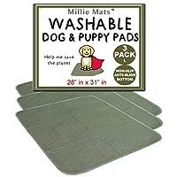 """Millie Mats 小狗垫可水洗狗训练垫吸水剂,适用于宠物、箱子、汽车、地毯、家具。 适用于*老年人或*宠物。 军* 28"""" x 31"""" L 3 Pack"""