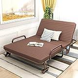 折叠床单人午休床双人床办公室午睡床家用客人床小孩床保姆床客人临时床躺椅成人简易床 (1.2米咖啡色B款)