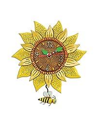 ENESCO Allen Designs 28 厘米树脂向日葵时钟,多色,28 x 25.5 x 28 厘米