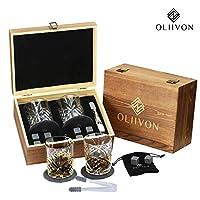 高级威士忌石礼品套装 - 2 个钻石切割威士忌眼镜,8 个鸡心石,2 个手工石板杯垫,不锈钢钳子,豪华木盒,非常适合苏格斯和波旁饮料