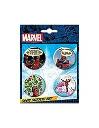 Ata-Boy Marvel 漫画死侍 4 件套 1.25 英寸收藏纽扣