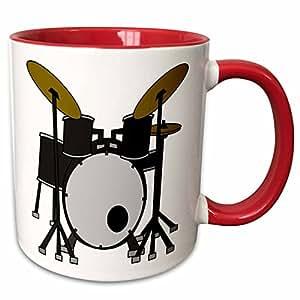 3dRose Anne Marie Baugh - 音乐 - 鼓组合插图 - 马克杯 红色 11 oz mug_211194_5