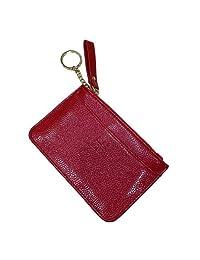 BellaMustard 小钱包零钱钱包女士拉链人造皮革钥匙圈卡包