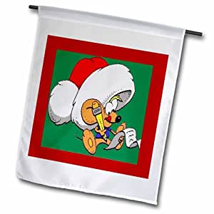 "3dRose 圣诞老鼠 带列表 花园旗 12 x 18"""