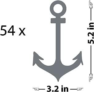 "锚图案墙贴 灰色(Storm Grey) 5.2"" (H) X 3.2"" (W) 1920-WALL-02-25"