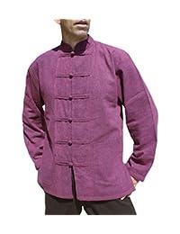 Raan Pah Muang Svenine Stonewash 中世纪棉质衬衫中国纽扣和领长袖
