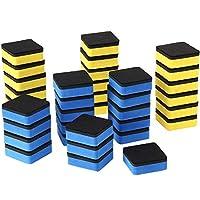 Sunshane 36 件装磁性白板擦黑板清洁剂,适用于家庭学校和办公室(蓝色和黄色,5.08 x 5.08 cm)