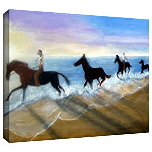 ArtWall Lindsey Janich 'Horses on The Beach Painting' Unwrapped Flat Canvas Artwork, 28 by 36-Inch