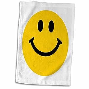 "3dRose InspirationzStore 微笑脸系列 - 黄色笑脸 - 可爱传统快乐笑脸 - 1960 年代嬉皮风格 - 白色微笑 - 毛巾 白色 15 x 22"" twl_76653_1"