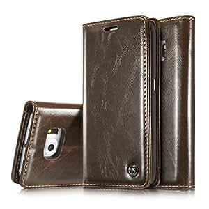 Galaxy S6 手机壳,Galaxy S6 钱包式手机壳,AKHVRS 超薄真皮磁贴钱包皮质手机壳翻盖保护套,[卡槽][钱包][磁扣] 适用于三星 Galaxy S6 棕色