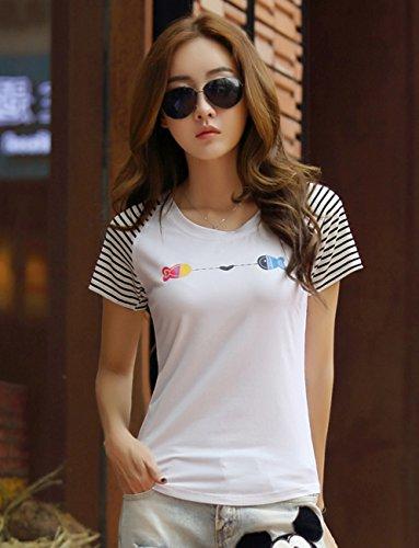 汉迈斯克 夏季新款女装体恤衫韩版圆领拼接条纹袖打底衫上衣百搭印花修身短袖T恤女 HK-0363