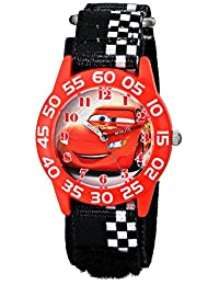 Disney W001679 汽車塑料手表,黑色方格尼龍表帶