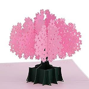 TGJOR 粉色百合花束弹出式贺卡 - 复杂设计和手工组装,非常适合节日、生日快乐、感谢、婚礼、春季 樱花色