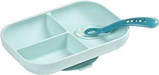 BEABA 独立硅胶盘套装 - 易于清洁 - 可用洗碗机清洗和微波炉 - 柔软、不易破损、防滑吸盘 - 包括盘子和硅胶勺子,天蓝色