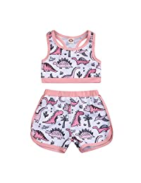 HAPPYMA 幼童女婴泳装恐龙西瓜海滩比基尼短裤两件套泳装套装