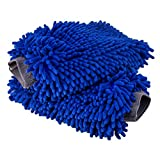 终极洗车手套 - 2 件装 - 优质雪尼尔超细纤维洗手套 - 洗手套 - 无毛 - 防刮 - 常规尺寸 Extra Large 2 Pack 蓝色 UWM-X2