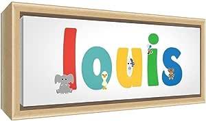 Little Helper 彩色样品实木框架带男孩姓名帆布 Louis 34 x 88 x 3 cm 宽