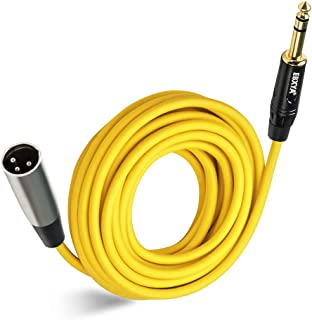 EBXYA1/4 TRS to XLR 公头麦克风插线电缆 彩色 25 英尺,黄色