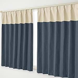 ナチュラル遮光カーテン Aフック 14.ベージュヘッド×紺 幅125×丈195cm 2枚組