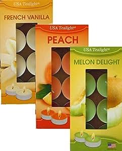 24 USA 茶蜡蜡烛 French Vanilla-Melon-Peach Tea Light 701