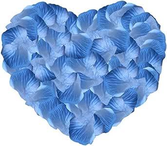Neo LOONS 2000 件人造丝玫瑰花瓣装饰婚礼派对颜色 Blue & Light Blue Blue & L B Artificial Rose Petals-2000